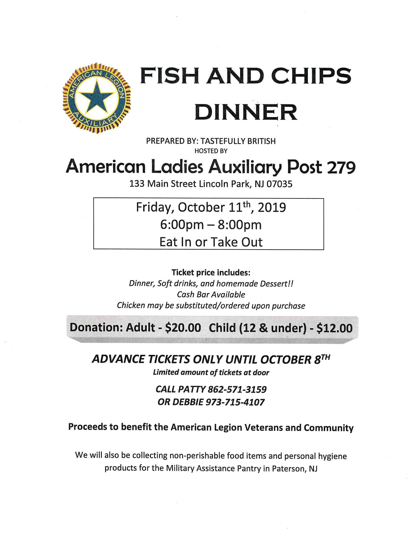 Amer Legion Fish Chips Oct 11