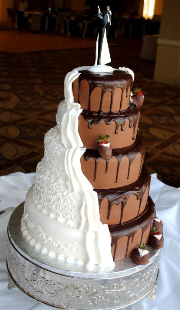 Wedding half-and-half-cake