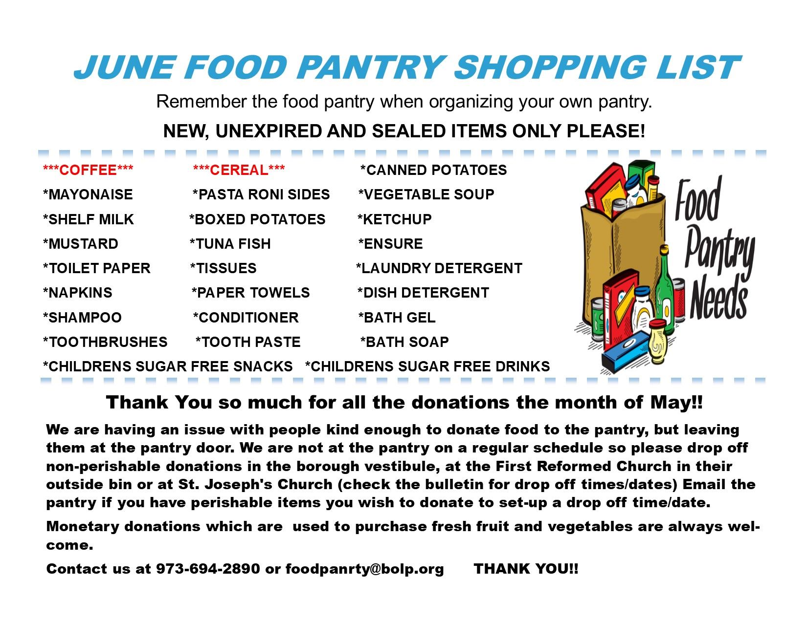 Food Pantry June Shopping List