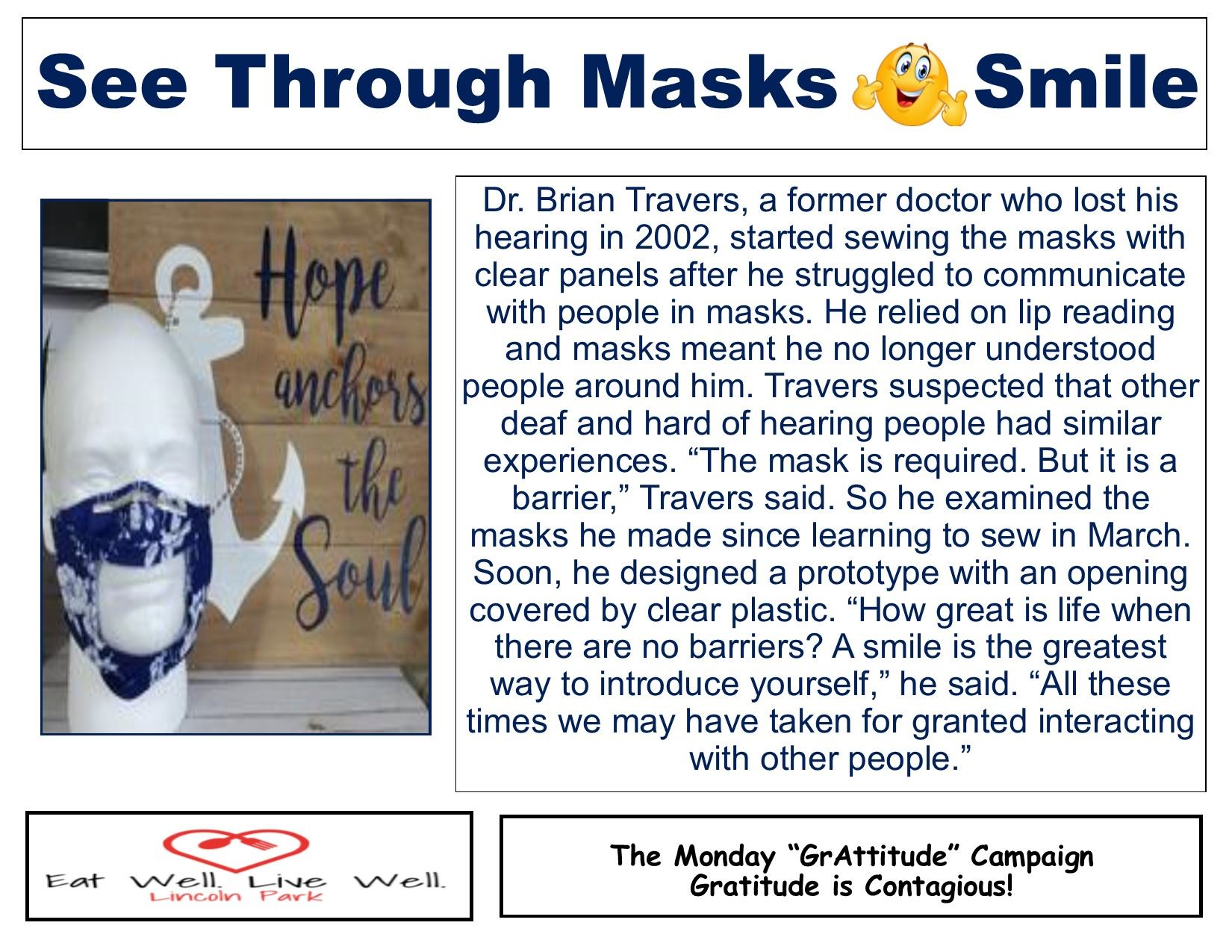 Healthy Monday 8-10-2020 See through masks